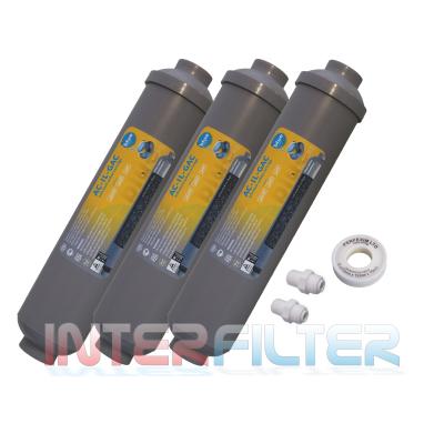 BF-3. extern. Aktivkohle Kartusche 3er Pack, 2xFitting, Teflonband. Bluefilters