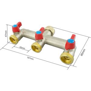 """V-3HN. Verteiler 3-Wege mit Absperrhähnen 3/4""""IG - 3x3/4""""AG (vernickelt)"""