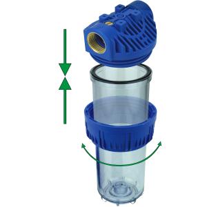 GPV10-1Y. Gehäuse 10Zoll, Anschluss 1Zoll,  Filtereinsatz YARN