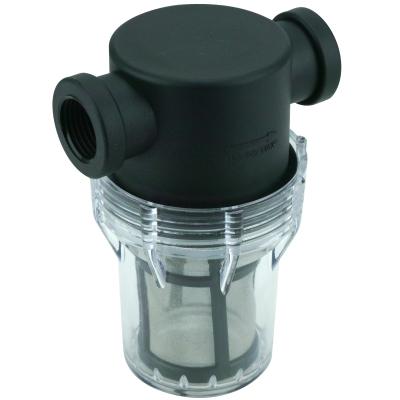 """Mini Filtergehäuse (klar) 3"""" mit 1/2"""" Anschluss mit Sieb-Edelstahlfilter 80MESH(177µ]"""